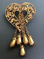 Vintage Unusual Open  Heart Brooch Pin W/ Dangling Beaded  Chain Gold Tone