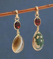 925 Sterling Silver Jewelry Garnet Jasper Gemstone Women's Combo Pendant Set