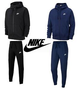 NIKE Club Full Zip Tracksuit Men's Fleece Black Navy Hoodie Jogging Pants Gift