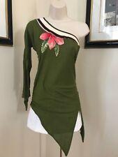 CESAR ARELLANES Women Green Multicolor Floral One Shoulder Top Shirt Blouse Sz S