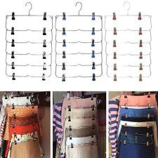 Clothes Hangers Multilayer Skirt Trouser Hanger Non Slip Metal Hanger 12 Clips