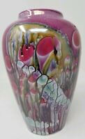 Naaman Israel Drip Glazed Multicolored Vase 9""
