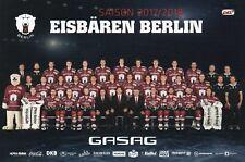 Eisbären Berlin-Mannschaftsfoto-Autogrammkarte Saison 2017/2018-DEL-NHL