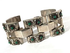 Vintage/Mexican/Mexico/Taxco Sterling Silver Chrysoprase Etruscan Bracelet