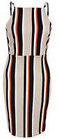 New Womens Ladies Strappy Stripe Detail Midi Bodycon Dress Size 6 8 10 12 14 UK