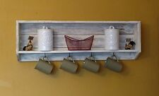 Farmhouse style pallet wood coffee mug holder shelf ready to hang on wall