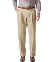 Dockers Men's Relaxed Fit Comfort Khaki Cuffed Pants - Pleated D4-Timberwolf
