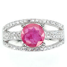CHARMING! NATURAL 7.5mm TOP RED PINK RUBY-WHITE CZ STERLING 925 SILVER RING 7.25
