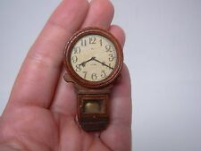ARTISAN SIGNED DOLLHOUSE MINIATURE WOOD WALL CLOCK with GLASS FRONT 2""