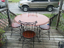 Mahogany Ice Cream Parlor Set / Dinette Set-Table & 4 Chairs  (DC2)