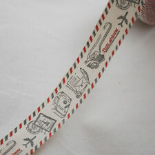 Cotton Fabric Ribbon Trim - Airmail Holiday Camera