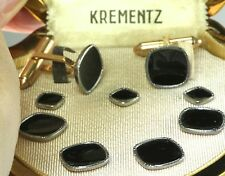 VTG KREMENTZ GOLD PLATED FILLED 9 PIECE BLACK CUFFLINKS TUXEDO STUD SET