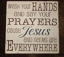 Wash Your Hands Say Prayers Jesus and Germs Childrens Bathroom Sign Decoration