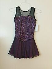 Icings NWT ADULT MAGENTA BLACK COMPETITION ROLLER ICE SKATING DANCE BATON DRESS