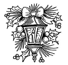 Christmas Lamp Light Holly Small Wood Mounted Rubber Stamp NORTHWOODS B10510 New