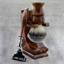 3 Pieces Wooden Shaving Set For Men's With Synthetic Hair Brush&Gillette Mach 3