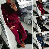 Set Winter Ladies Top Long Pants Sport Tracksuit  Women Shiny Velvet Suit 2PCS