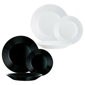 Luminarc Harena Lined 18pc Opal Glass Dinner Set Dinnerware Tableware Plates NEW