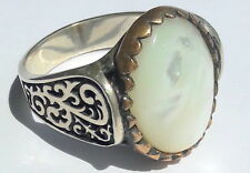 925 Sterling Silver Men's Ring with Unique Precious Real Moon Stone