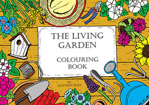 Adult Colouring Books - The Living Garden A4 Flowers Mindful Colour Art Therapy