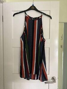 Ladies Striped Multi Coloured Top Size 20