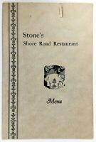 1940's STONE'S SHORE ROAD Restaurant Original Vintage Menu Abbotts Ice Cream