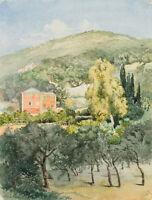 M.VON SAVIGNY(*1831), Olivenhain bei Villa bei Nervi, Genua, 1889, Aquarell