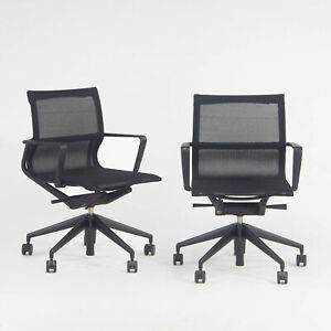 2018 Vitra Physix Rolling Desk Chair by Alberta Meda Black Mesh Sets Available