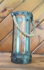 Antique Lantern Lamp Light Candle Holder Rustic Metal Glass Hanging Rope Nordic