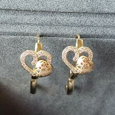 Sweet yellow gold plated double heart laser design CZ small hoop earrings