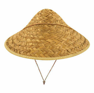 Mens Coolie Straw Hat Edge Binding Novelty Hen Night Party Costume Hat
