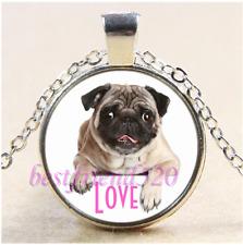 Love  Pug Dog Photo Cabochon Glass Tibet Silver Chain Pendant Necklace#CB51