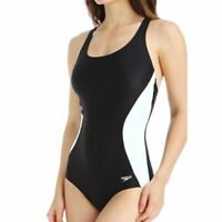 Speedo NWT Sz 14,16 Illusion Splice Ultraback One Piece Swimsuit Black/White