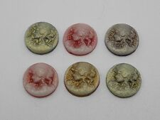 50 Mixed Color Beautiful Lady Woman Round Flatback Resin Cameo Cabochon 12mm