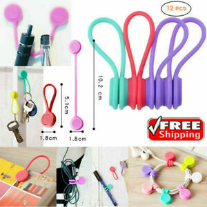 12PCS Magnetic Earphone Cable Organiser Headphone Tidy Cord Multifuntion Winder