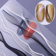 Metal Blanco Negro 3D tira de onda líneas de Uñas Pegatinas Arte en Uñas Transferencias Adhesivo