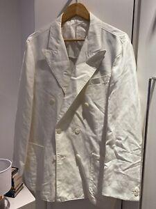 Mens Designer Ralph Lauren Double Breasted Linen Mix Blazer 42S Altered RRP£349