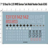 7*10 Decal Replacement Parts for 1/35 WWII German Tank Model Number Decals 63365