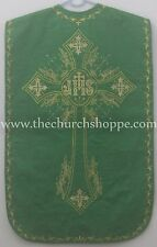 Green Roman Chasuble Fiddleback Vestment and 5pcs mass set IHS embroidery NEW