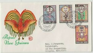 Stamps Papua New Guinea 1977 art set of 4 on WCS Wesley green text cachet FDC