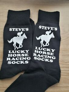 Mens personalised YOUR name horse racing lucky socks birthday christmas gift