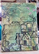 Original Painting on Canvas Cityscape Abstract Signed In Greens w/ Head  R