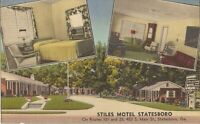 Statesboro, GEORGIA - Stiles Motel -  ROADSIDE -  LINEN - Multiview