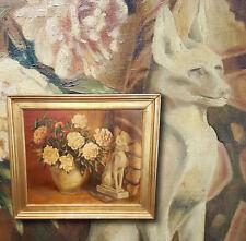Natura morta con fiori con egiziano Gatto Bastet. Orig. antico Dipinto a olio