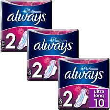 Always Platinum Pads Ultra Long Sanitary Towels with Wings - Size 2 - 30 Pack