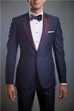 Men Blue Designer Grooms Wedding Purple lapel Tuxedo Dinner Suits (Coat+Pant) UK