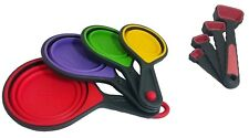 Collapsible Silicone Measuring Cups & Red Measuring Spoons 8 pc set