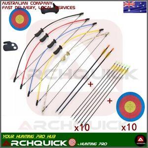 "Archery Kids Bow 36"" 10 LBS JUNIOR Long Bow & Arrow Recurve Archery Target Youth"