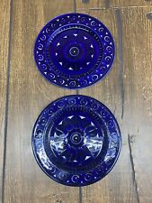 "Set of 2 Arabia of Finland Valencia 7-5/8"" Salad Plate Ulla Procope Blue VTG"