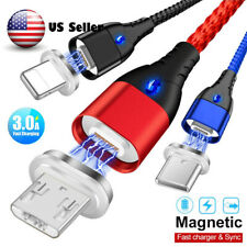3A Magnetic Type C Micro USB Fast Charger Data Sync Charging Cord Phone Cable US